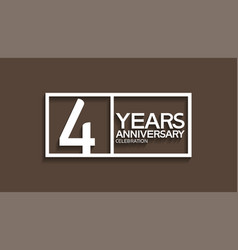 4 years anniversary logotype with white color vector