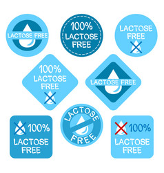 A set stickers for lactose-free products vector