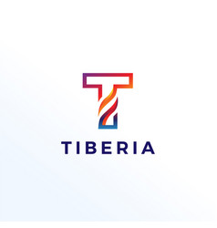 Abstract letter t shape logo template vector