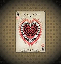 Ace hearts poker cards old look vintage background vector image