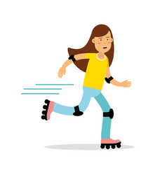 active girl roller skating cartoon character kids vector image