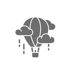 Air balloon aerostat dirigible grey icon vector