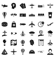 Aviation icons set simple style vector