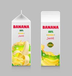 banana juice packaging pack realistic design vector image