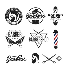 Barber shop badges set vintage vector