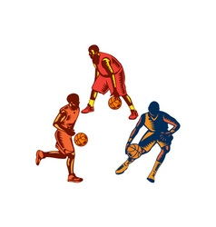Basketball Player Dribble Woodcut Collection vector