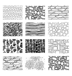 Big set different paving elements for landsape vector