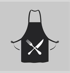 black kitchen aprons knife fork design vector image