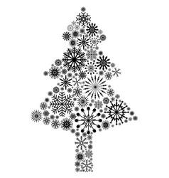 Black snowflake christmas tree vector