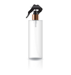 Blank transparent cosmetic cylinder bottle with vector