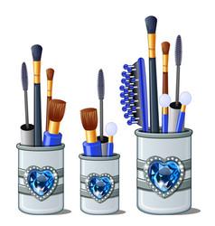 Blue makeup brushes mascara comb cotton buds vector