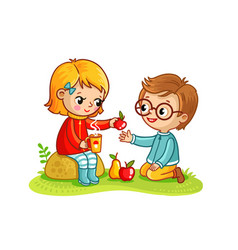 Boy and a girl eat in nature vector