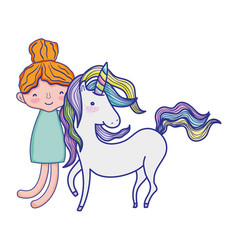 boy hugging beauty unicorn hairstyle vector image