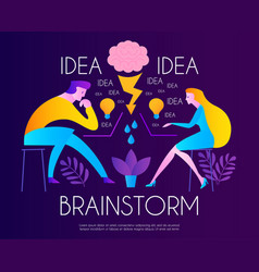 brainstorm team working creating idea man and vector image