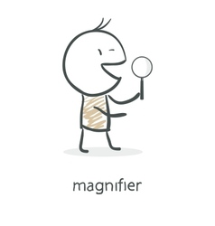 Cartoon man holding a magnifying glass vector