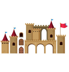 Castle towers on white background vector