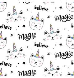 caticorns cat unicorn seamless pattern vector image