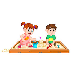 children play sand happily vector image