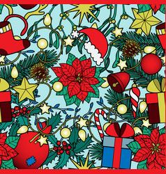 christmas colorful seamless pattern vector image