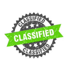 Classified grunge stamp with green band classified vector