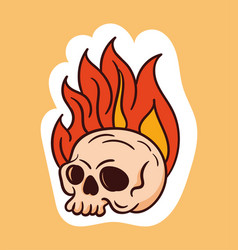 colorful dead skull sticker with fire coming out vector image