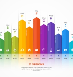 column chart infographic template 11 options vector image