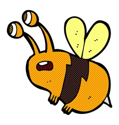comic cartoon frightened bee vector image vector image