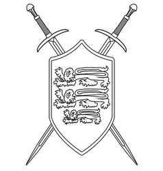 crossed swords and shield outline vector image