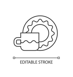 cup and saucer set linear icon vector image