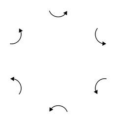 Curved circular arrow radial concentric pointer vector