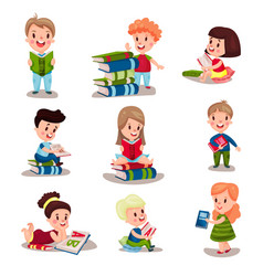 Cute smart kids reading books set of vector