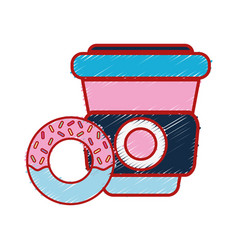 delicious donut with coffee plastic cup to eat vector image