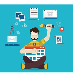 Designer and work vector image