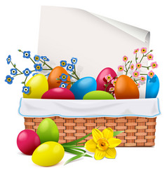 Easter basket with greeting card vector