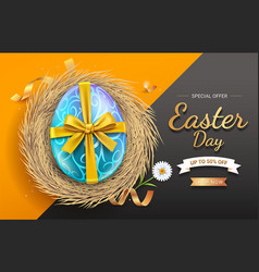 easter eggs with gold ribbon on egg nest vector image