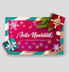 Feliz navidad y prospero ano nuevo merry vector