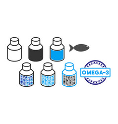 Fish omega-s vials collage vector