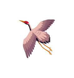 Flat cartoon japan crane flapping wings vector