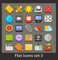 Flat icon-set 3 vector