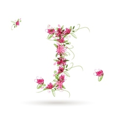 Floral letter J for your design vector image