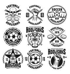 Football or soccer hooligans and bandits emblems vector