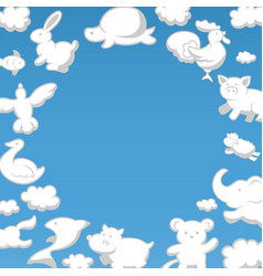 frame fluffy clouds in form funny animals on vector image