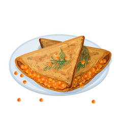 fried pancakes blini or crepes stuffed vector image