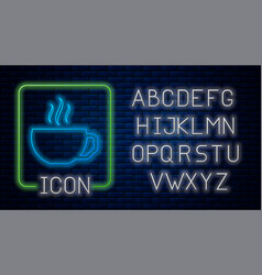Glowing neon coffee cup flat icon isolated on vector