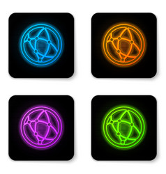 glowing neon global technology or social network vector image