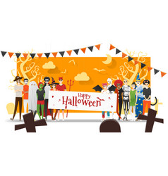 Group teens in halloween costume concept vector