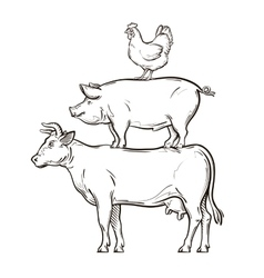 Hand drawn cow pig chicken vector