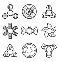 hand fidget spinner extra line icon set vector image