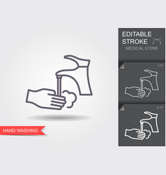 hand washing with soap line icon with editable vector image