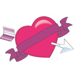heart pierced an arrow heart and arrow love vector image